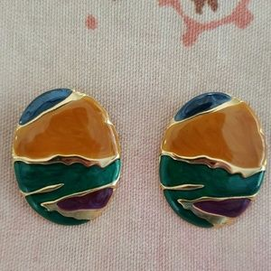 Vintage Oval Earrings/ Enamel Earrings/ Statement